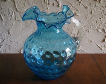Vintage Blue And White Iced Tea Lemonade Or Water Pitcher with applied handle Hand Blown