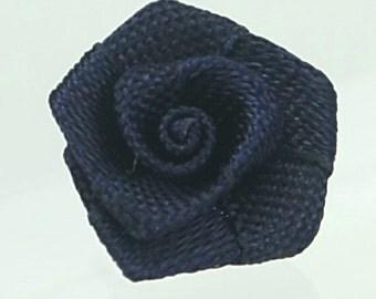 B-118 / Satin Ribbon Roses / 100 Pcs / Color - midnight blue / Size : 1 - 1.2 cm.
