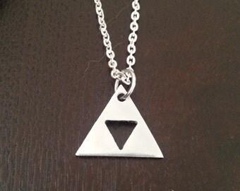 Silver Triforce Legend of Zelda symbol necklace