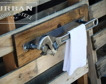 Industrial Wrench Towel Rack