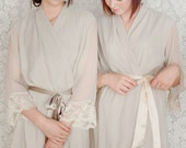 WOODSMOKE. 4 custom lace trimmed lined chiffon robes in a knee length. Dressing gowns. Bridesmaids robes and bridal robes.
