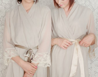 WOODSMOKE. 4 custom lace trimmed lined chiffon robes in a knee length. Dressing gowns. Bridesmaids robes. Bridal robe. Wedding robes.