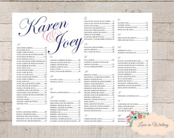 Wedding Anniversary Rehersal Dinner Bridal Shower Seating Chart : Printable Digital File, Custom Printable Digital File