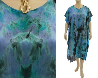 Hand painted silk dress caftan teal lilac black, summer or evening dress small to plus size US size 6-20, discount 90 USD - was 320 now 230