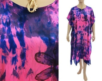 Hand painted silk dress caftan pink cobalt blue, summer or evening dress small to plus size US size 6-20, discount 90 USD - was 320 now 230