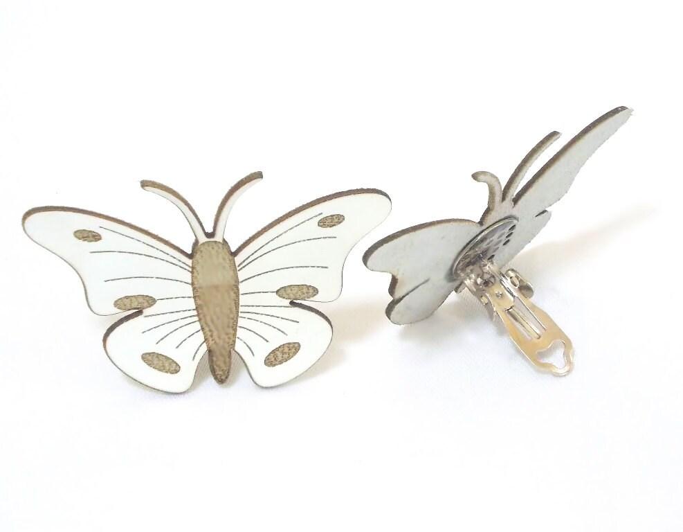 butterfly earring earring leather butterfly clip earrings