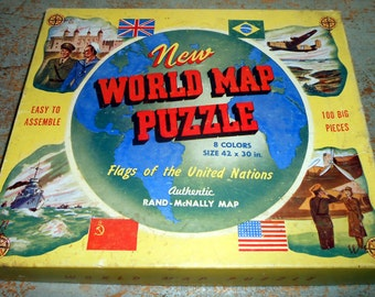 Vintage Puzzle, World Map, Flags Of The United Nations, Rand-McNally, Jig Saw Puzzle, Large Pieces, Easy to Assemble, 100 Pc Puzzle, 1943
