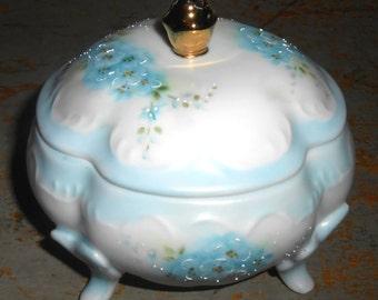 Vintage Trinket Box, Floral, Forget Me Nots, Porcelain, Blue, Frances Gillen, Jewelry Box, Jewelry Dish, Vanity Decor