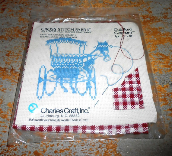 vintage fabric cross stitch red gingham charles craft
