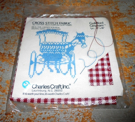 Vintage fabric cross stitch red gingham charles craft for Charles craft cross stitch fabric