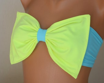 PADDED..Neon green and turquoise bow bandeau bikini top with removable neck strap-Plus size-Swimwear-Swimsuit-Bathing suit-XS-S-M-L-XL