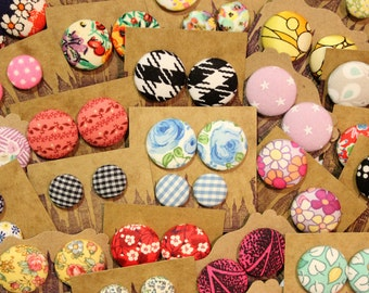 Wholesale Button Earrings / Bulk Jewelry / 10 Pairs / Fabric Covered / Handmade Gifts / Custom Order / Stud Earrings / Party Favors