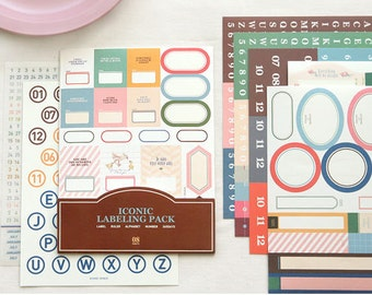 Iconic Labeling Pack - Korean Sticker -  Masking Sticker - Diary Sticker - Filofax - 11 sheets in
