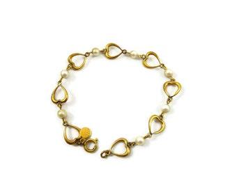 Vintage Heart Pearl Bojar Bracelet 12K GF