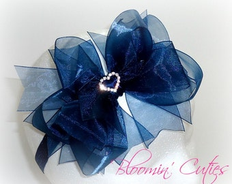 Navy Blue DOUBLE-Stacked Organza Ribbon with Rhinestone Heart Center Newborn Baby Toddler Girls Headband Bow by Bloomin' Cuties