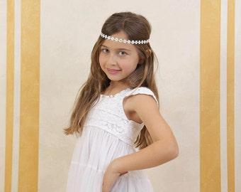 Flower Headband with Swarovski Crystals, Baby girls, photography, Christmas, gold, silver, red, white, ivory, flower girls, birthday, girls,