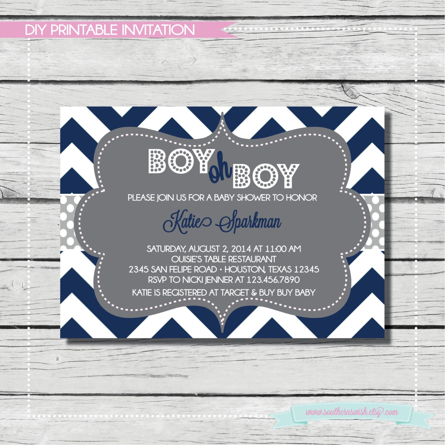 navy boy oh boy baby shower invitation digital printable