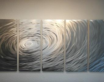 Metal Wall Art Decor Aluminum Abstract Contemporary Modern Sculpture Hanging Zen Textured- Large Rippling