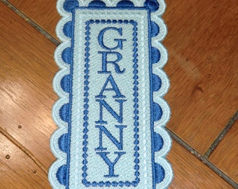 """Embroidered Bookmark  - """"Granny"""" - Blues"""