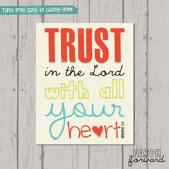 Scripture Art, Bible Verse Art, Faith Based Art, Proverbs 3:5, Faith Art by Jennifer McCully