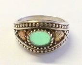 Sterling 12k Green Tri Tone Black Hills Ring Size 8 1/4