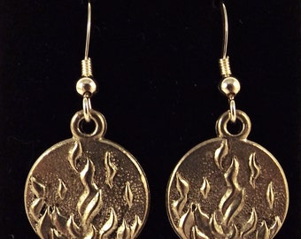 Pewter FIRE Charms -Four Elements- on Sterling Silver Ear Wire Earrings - Free Shipping in the US - (0019)