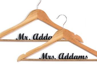 Set of 2 Wedding Hangers Laser Cut - personal name hanger - customize hanger - HangOnMe