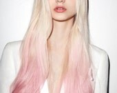 """Pastel Ombre Hair Extensions, Platinum Blonde and Pastel Pink Hair, Blonde Hair Extensions, Pink Hair, Clip In Human Hair Extensions, 22"""""""