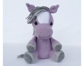 Crochet Horse Stuffed Animal in Purple and Grey