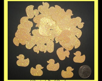 50 Yellow Glitter Ducks Die Cuts Punches Party Confetti Baby Shower Confetti For Scrapbook Cards Party Confetti Crafts Embellishments