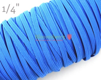 "5 or 10 Yards 1/4"" Skinny Elastic - Royal Blue Color - Royal Blue Skinny Elastic - Dark Blue Elastic -Hair Accessories Supplies"