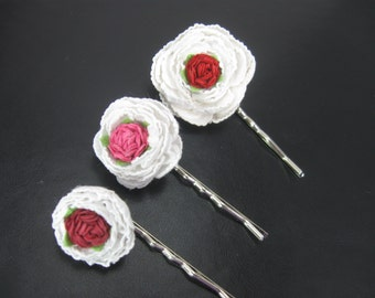 Hair Accessories, Hair Pins, Flower Bobby Pins, Wedding Hair Pins, Pink and White Flower Clips