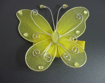 Butterfly Hair Clip, Girl Hair Clip, Large Yellow Butterfly Barrette, Teen Hairclip, Fairy, Butterflies, Costume, Tropical, Hair Accessories