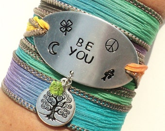 Be You, Silk Wrap Bracelet, Bohemian, Yoga, Jewelry, Peace, Clover, Hippie, Love, Tree, Gift For Her, Stocking Stuffer, Under 50, Item K84