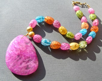 Chunky Statement Necklace, Hot PInk Agate Druzy Pendant, Crackle Crystal Nuggets, Multi Colour, Colourful Necklace, Candy Necklace  437