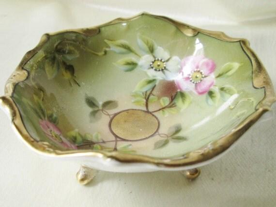 German Wedding Gifts: German Porcelain Gold Footed Nut DishFloral Motif Lavish