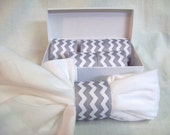 40 Gray Chevron Napkin Rings