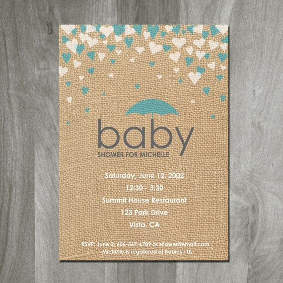 baby shower invitation burlap background custom digital file