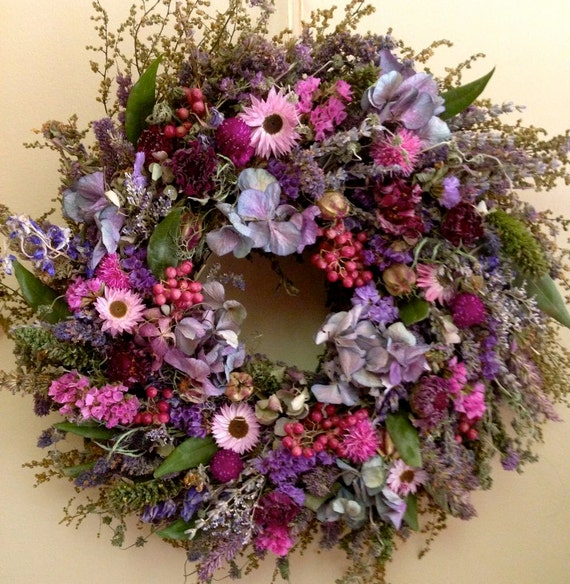 Dried flower wreath herb