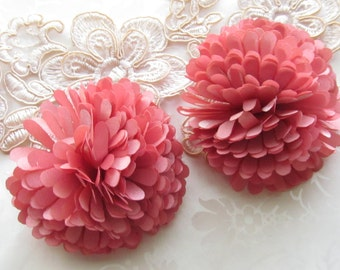 Dusty Pink Fabric Flower / Satin Hair Flower / Diy Shoe Clips / 2pc  NO CLIPS