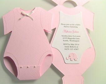 Customize Any Color, 10 Onesie Baby Shower Invitation, Thank You, or Baby Announcement Cards, Baby Girl Pink Elephant