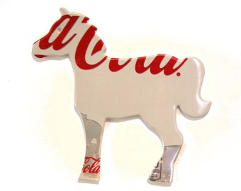 White Coke  - HORSE MAGNET - Recycled Soda Pop Can