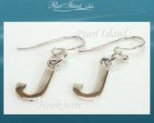 Sterling Silver Initial J Earrings, Personalised Jewelry, Quality Gift for her