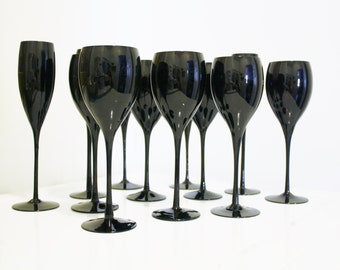 Vintage Sasaki Black Amethyst Crystal Glasses Wine Stemware Champagne Flutes Stemware Black Purple Rare Hand Blown Quality Made