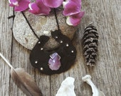 Full moon tide. Amethyst, sterling silver and copper necklace