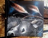 "Original Painting, ""Wolf Medicine"" 12 x 12 inch Acrylic on Canvas"