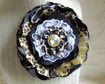 Cheetah, Animal Print, Flower, Lace, Brooch, Corsage, Hat Pin, Hair Barrette, Country Wedding, Textile Corsage Brooch, Floral Bridal Sash