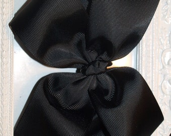 Solid Black Basic Boutique Hair Bows Many Sizes