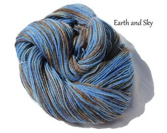 Earth and Sky - Hand Dyed, Hand Painted Panda Sock Yarn (superwash merino, bamboo, nylon) 4.2oz/119g/432yrds