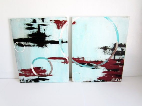 brown & turquoise modern abstract circle oil painting 2pc. 16x20 each
